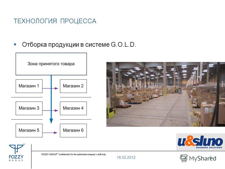 Отборка продукции в системе G.O.L.D. ТЕХНОЛОГИЯ ПРОЦЕССА 16.02.20128
