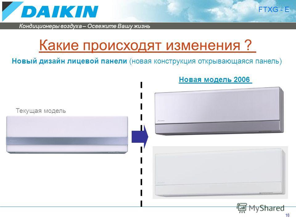 Кондиционеры воздуха – Освежите Вашу жизнь 18 Какие происходят изменения ? Новый дизайн лицевой панели (новая конструкция открывающаяся панель) FTXG - E Текущая модель Новая модель 2006