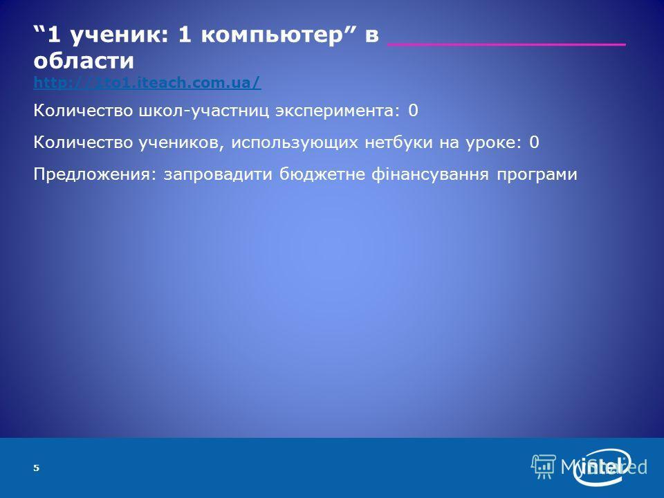 1 ученик: 1 компьютер в _______________ области http://1to1.iteach.com.ua/ http://1to1.iteach.com.ua/ Количество школ-участниц эксперимента: 0 Количество учеников, использующих нетбуки на уроке: 0 Предложения: запровадити бюджетне фінансування програ