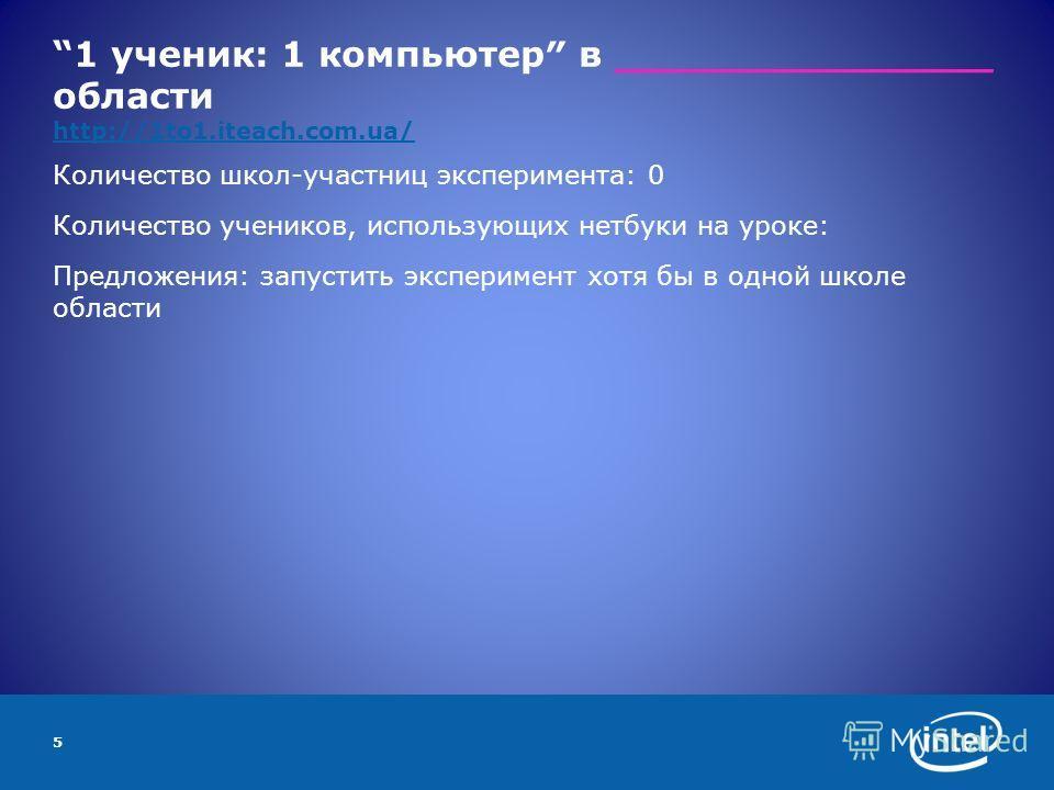 1 ученик: 1 компьютер в _______________ области http://1to1.iteach.com.ua/ http://1to1.iteach.com.ua/ Количество школ-участниц эксперимента: 0 Количество учеников, использующих нетбуки на уроке: Предложения: запустить эксперимент хотя бы в одной школ