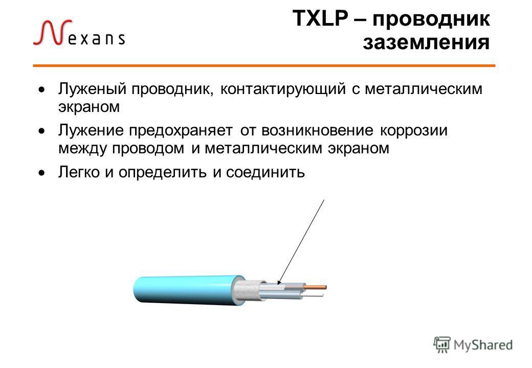 TXLP – проводник заземления Луженый проводник, контактирующий с металлическим экраном Лужение предохраняет от возникновение коррозии между проводом и металлическим экраном Легко и определить и соединить