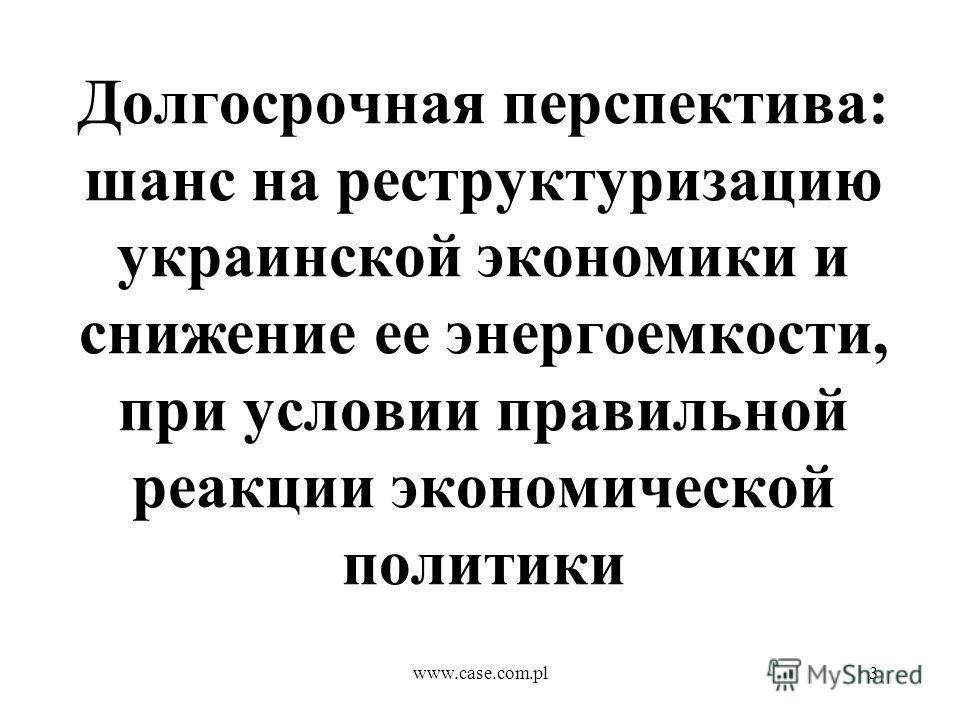 www.case.com.pl3 Долгосрочная перспектива: шанс на реструктуризацию украинской экономики и снижение ее энергоемкости, при условии правильной реакции экономической политики
