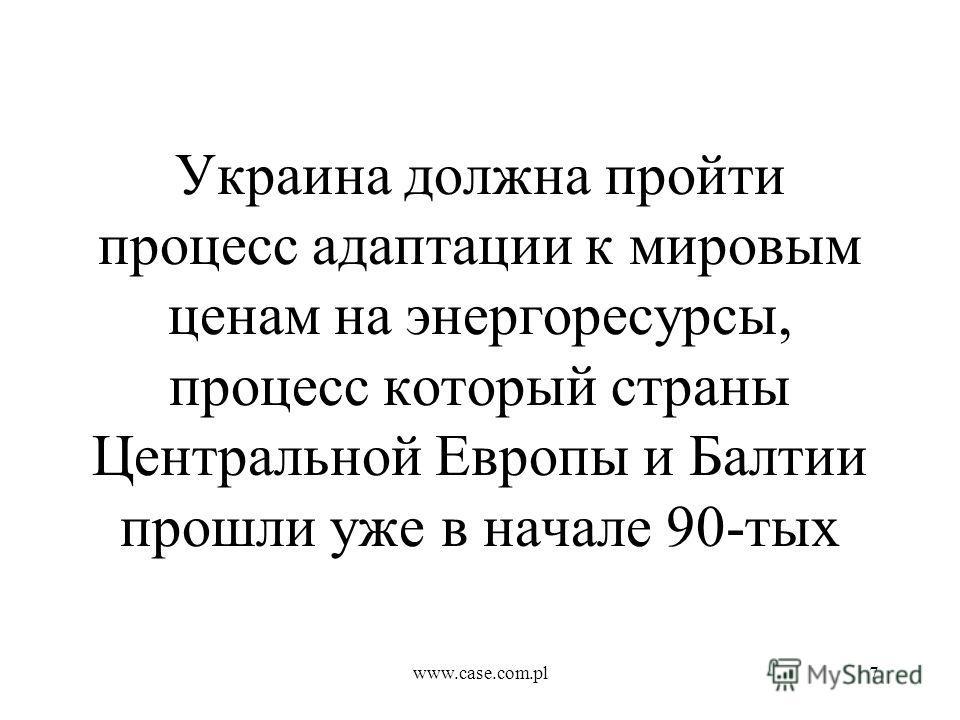 www.case.com.pl7 Украина должна пройти процесс адаптации к мировым ценам на энергоресурсы, процесс который страны Центральной Европы и Балтии прошли уже в начале 90-тых