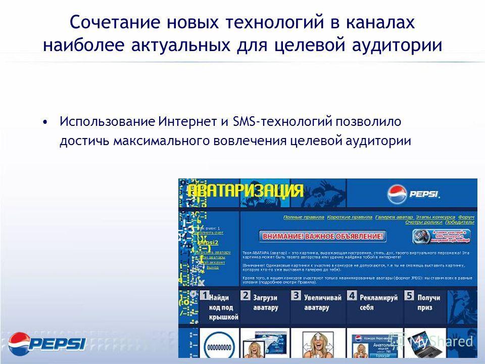 Сочетание новых технологий в каналах наиболее актуальных для целевой аудитории Использование Интернет и SMS-технологий позволило достичь максимального вовлечения целевой аудитории