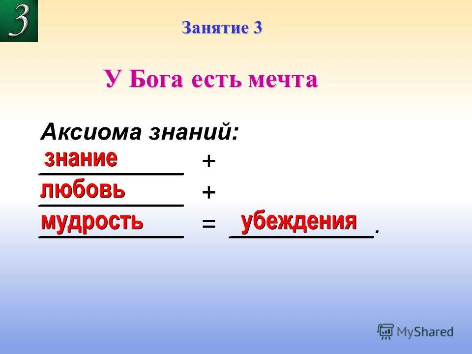 Занятие 3 У Бога есть мечта Аксиома знаний: __________ + __________ = __________. знание любовь мудрость убеждения
