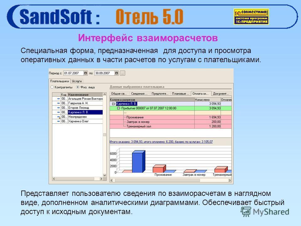 Интерфейс взаиморасчетов Специальная форма, предназначенная для доступа и просмотра оперативных данных в части расчетов по услугам с плательщиками. Представляет пользователю сведения по взаиморасчетам в наглядном виде, дополненном аналитическими диаг