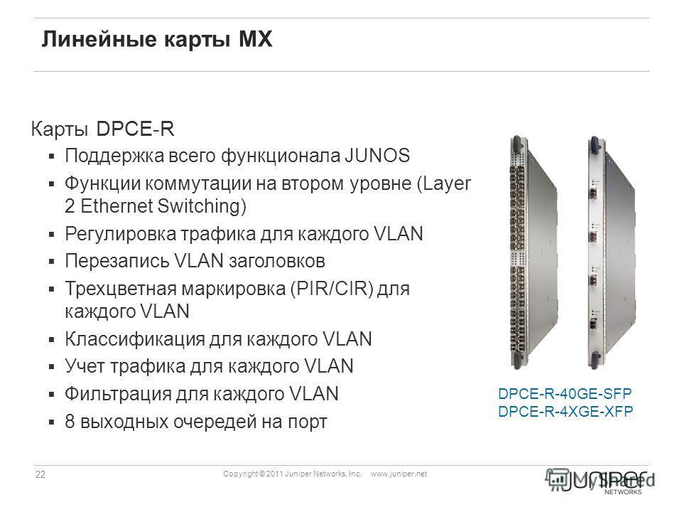 22 Copyright © 2011 Juniper Networks, Inc. www.juniper.net Линейные карты MX Карты DPCE-R Поддержка всего функционала JUNOS Функции коммутации на втором уровне (Layer 2 Ethernet Switching) Регулировка трафика для каждого VLAN Перезапись VLAN заголовк