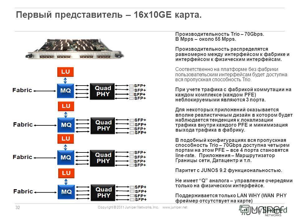 32 Copyright © 2011 Juniper Networks, Inc. www.juniper.net Первый представитель – 16х10GE карта. Производительность Trio – 70Gbps. В Mpps – около 55 Mpps. Производительность распределятся равномерно между интерфейсом к фабрике и интерфейсом к физичес