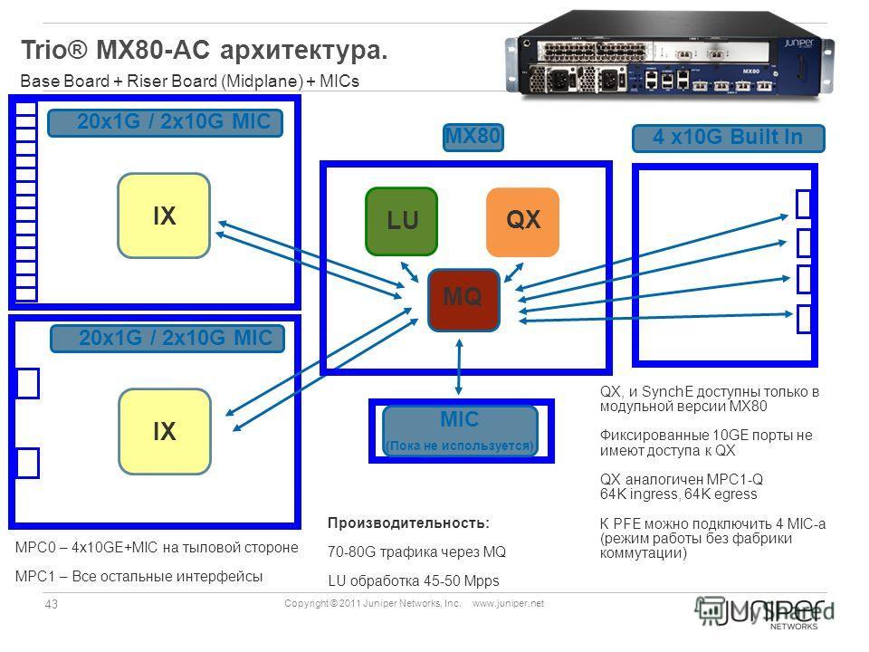 43 Copyright © 2011 Juniper Networks, Inc. www.juniper.net Trio® MX80-AC архитектура. Base Board + Riser Board (Midplane) + MICs IX 20x1G / 2x10G MIC QX MQ LU 20x1G / 2x10G MIC IX 4 x10G Built In MX80 MIC (Пока не используется) QX, и SynchE доступны