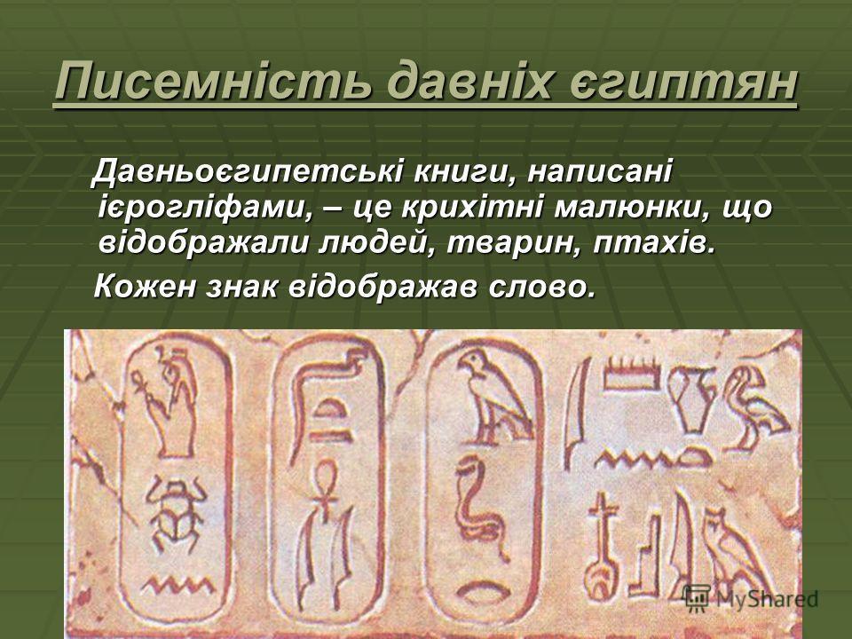 Писемність давніх єгиптян Давньоєгипетські книги, написані ієрогліфами, – це крихітні малюнки, що відображали людей, тварин, птахів. Давньоєгипетські книги, написані ієрогліфами, – це крихітні малюнки, що відображали людей, тварин, птахів. Кожен знак