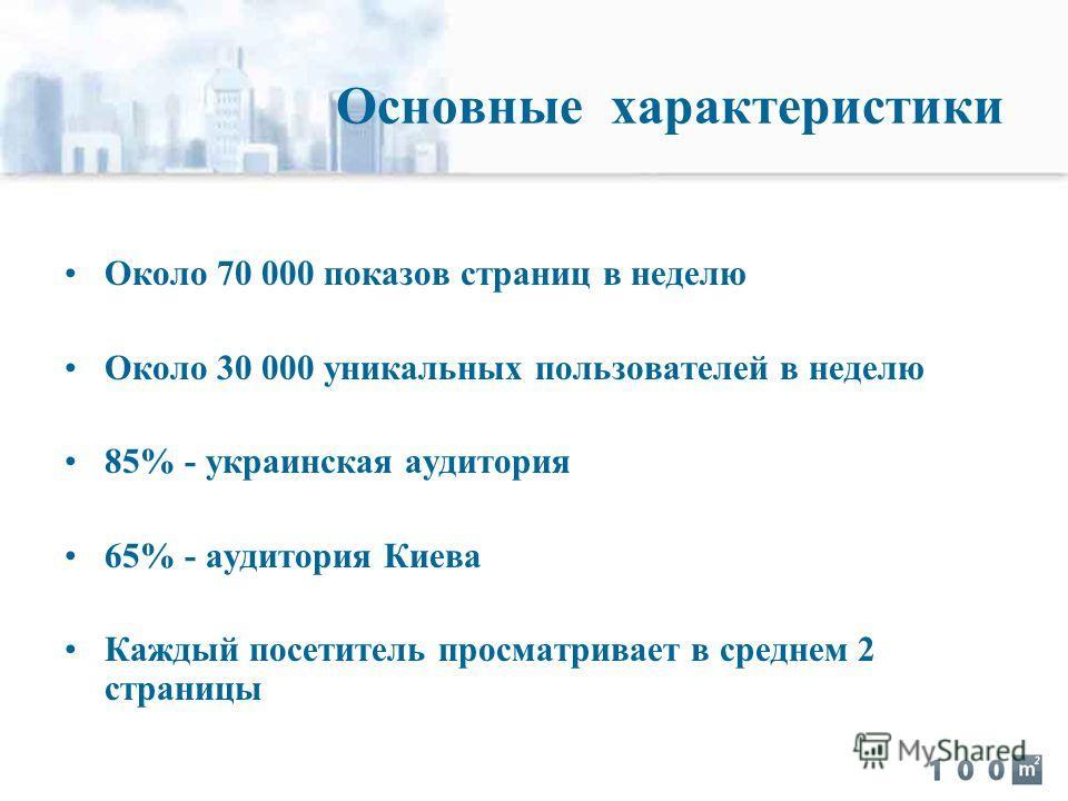 Около 70 000 показов страниц в неделю Около 30 000 уникальных пользователей в неделю 85% - украинская аудитория 65% - аудитория Киева Каждый посетитель просматривает в среднем 2 страницы Основные характеристики
