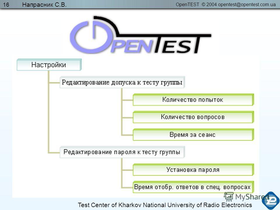 OpenTEST © 2004 opentest@opentest.com.ua Test Center of Kharkov National University of Radio Electronics Напрасник С.В. 16