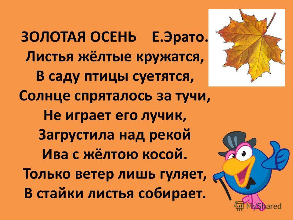 ЗОЛОТАЯ ОСЕНЬ Е.Эрато. Листья жёлтые кружатся, В саду птицы суетятся, Солнце спряталось за тучи, Не играет его лучик, Загрустила над рекой Ива с жёлтою косой. Только ветер лишь гуляет, В стайки листья собирает.