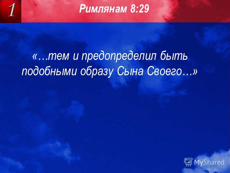 «…тем и предопределил быть подобными образу Сына Своего…» Римлянам 8:29