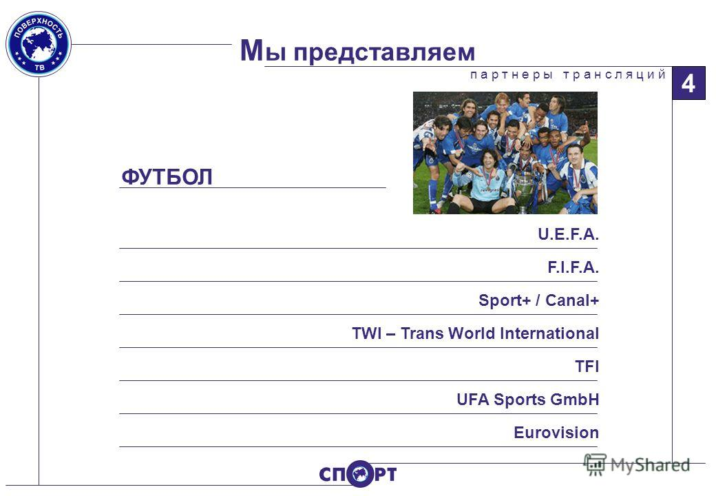 М ы представляем п а р т н е р ы т р а н с л я ц и й 4 ФУТБОЛ U.E.F.A. Sport+ / Canal+ TWI – Trans World International TFI UFA Sports GmbH Eurovision F.I.F.A.