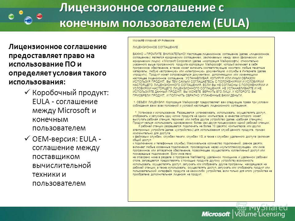 Лицензионное соглашение с конечным пользователем (EULA) Лицензионное соглашение предоставляет право на использование ПО и определяет условия такого использования: Коробочный продукт: EULA - соглашение между Microsoft и конечным пользователем ОЕМ-верс