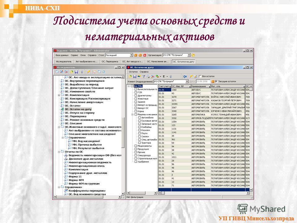 Подсистема учета основных средств и нематериальных активов УП ГИВЦ Минсельхозпрода НИВА-СХП