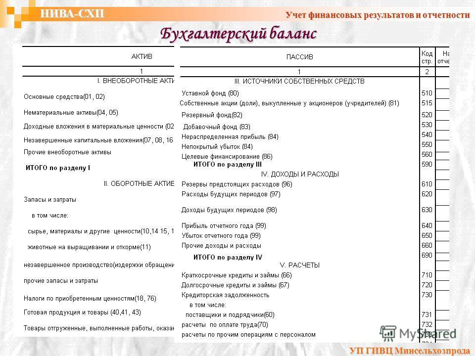 Бухгалтерский баланс УП ГИВЦ Минсельхозпрода НИВА-СХП Учет финансовых результатов и отчетности