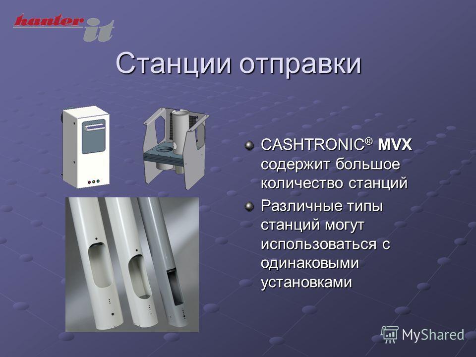 Станции отправки CASHTRONIC ® MVX содержит большое количество станций Различные типы станций могут использоваться с одинаковыми установками