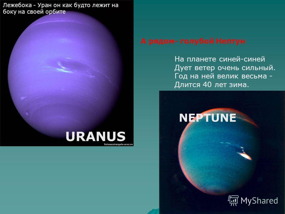 Лежебока - Уран он как будто лежит на боку на своей орбите На планете синей-синей Дует ветер очень сильный. Год на ней велик весьма - Длится 40 лет зима. А рядом- голубой Нептун URANUS NEPTUNE