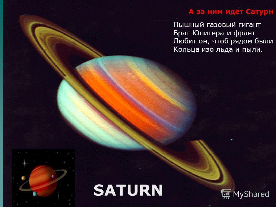 Пышный газовый гигант Брат Юпитера и франт Любит он, чтоб рядом были Кольца изо льда и пыли. А за ним идет Сатурн SATURN