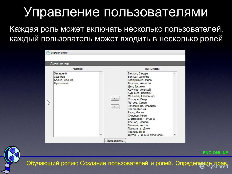 Управление пользователями Каждая роль может включать несколько пользователей, каждый пользователь может входить в несколько ролей Обучающий ролик: Создание пользователей и ролей. Определение прав. ENG ONLINE