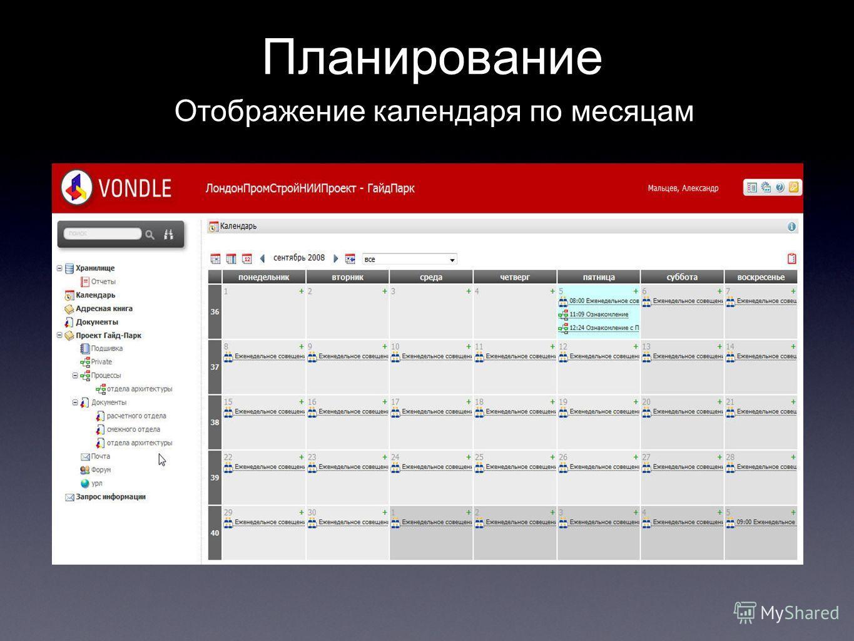 Планирование Отображение календаря по месяцам