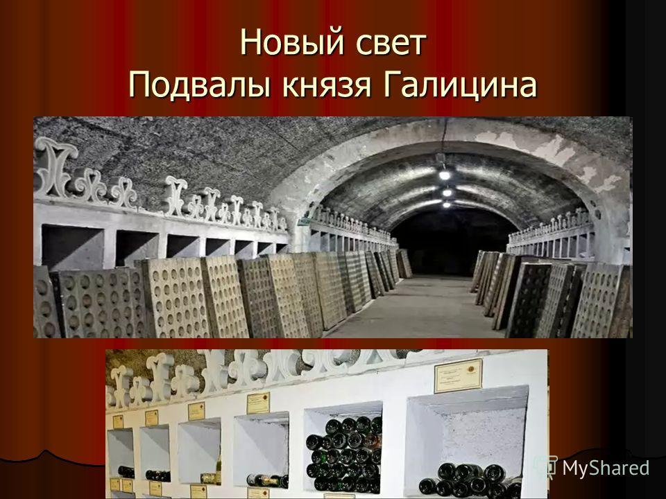 Новый свет Подвалы князя Галицина