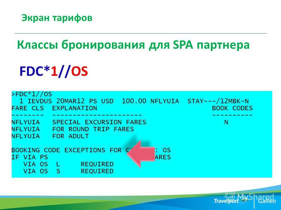 Экран тарифов Классы бронирования для SPA партнера FDC*1//OS