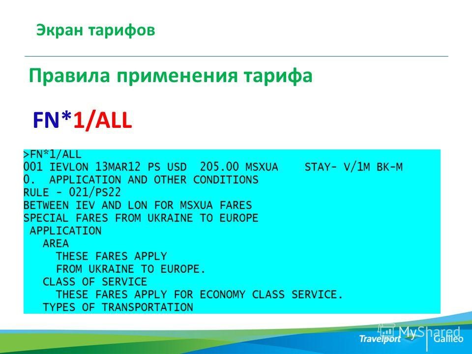 Экран тарифов Правила применения тарифа FN*1/ALL