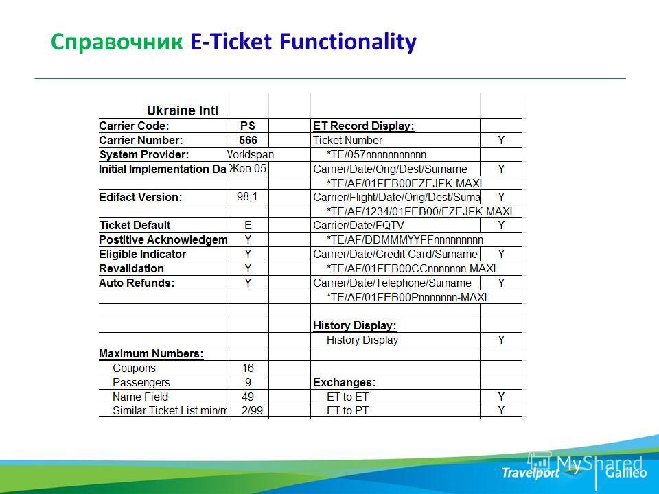 Справочник E-Ticket Functionality