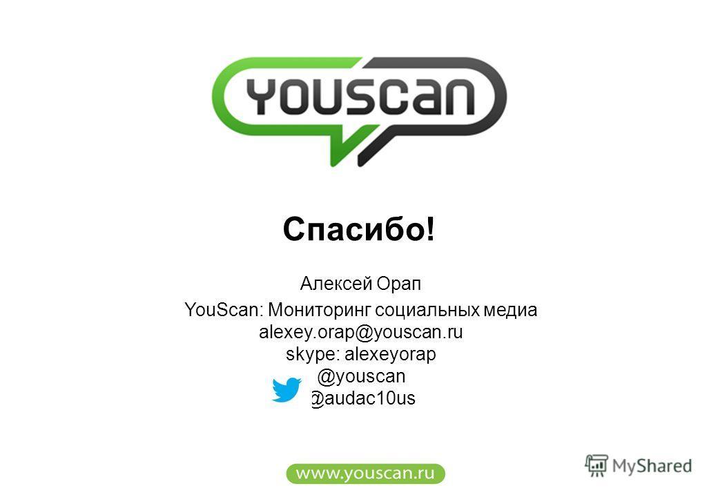 Алексей Орап YouScan: Мониторинг социальных медиа alexey.orap@youscan.ru skype: alexeyorap @youscan @audac10us Cпасибо!