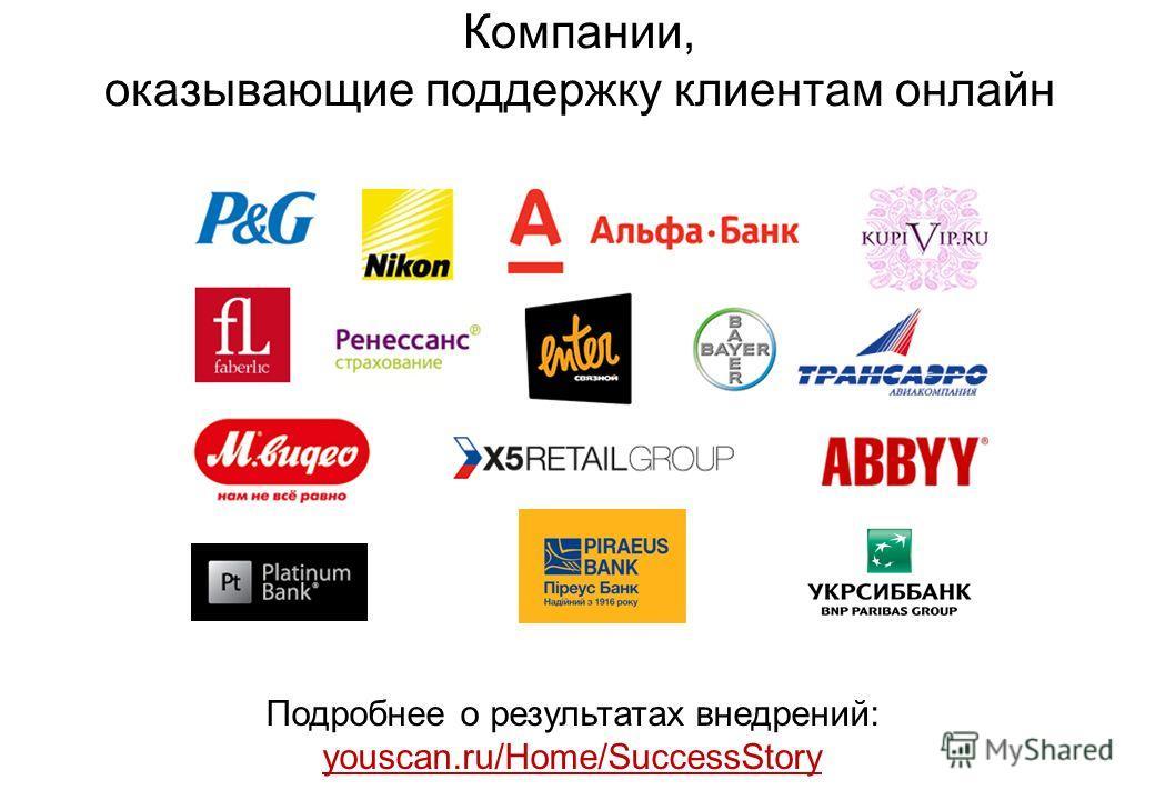 Компании, оказывающие поддержку клиентам онлайн Подробнее о результатах внедрений: youscan.ru/Home/SuccessStory youscan.ru/Home/SuccessStory