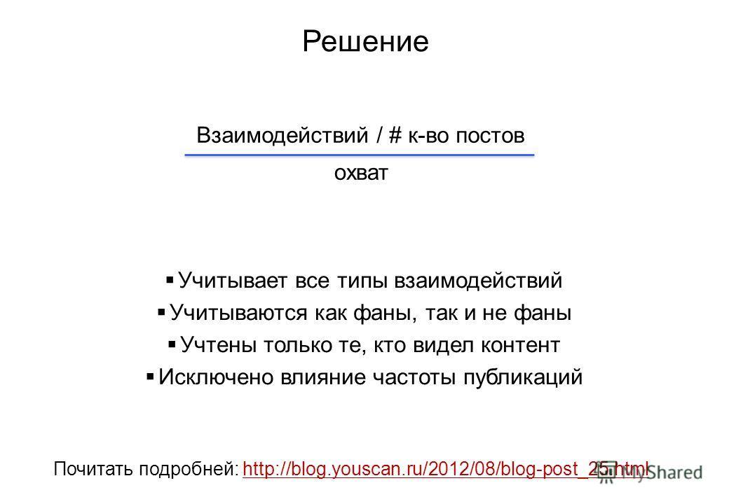 Решение Почитать подробней: http://blog.youscan.ru/2012/08/blog-post_25.htmlhttp://blog.youscan.ru/2012/08/blog-post_25.html Учитывает все типы взаимодействий Учитываются как фаны, так и не фаны Учтены только те, кто видел контент Исключено влияние ч