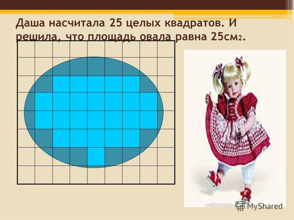 Даша насчитала 25 целых квадратов. И решила, что площадь овала равна 25см 2.