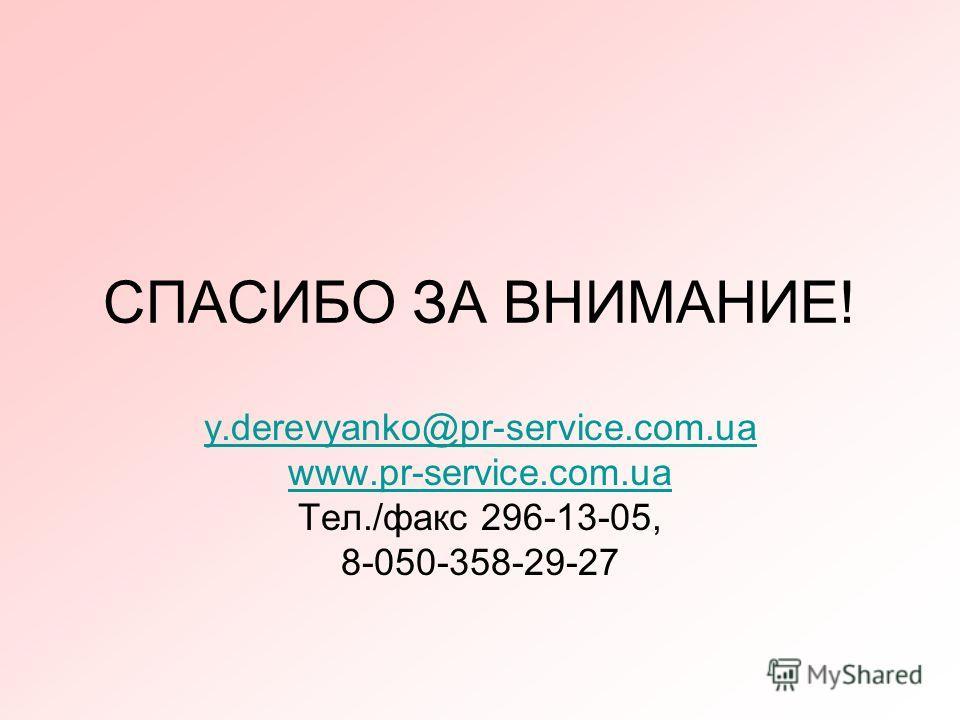 СПАСИБО ЗА ВНИМАНИЕ! y.derevyanko@pr-service.com.ua www.pr-service.com.ua Тел./факс 296-13-05, 8-050-358-29-27