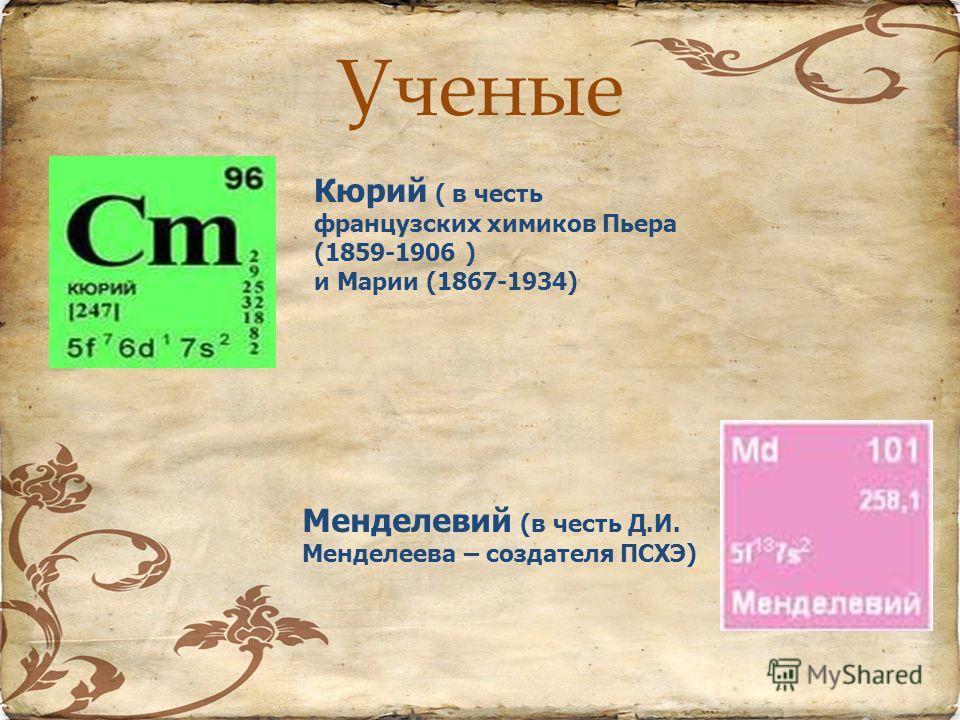 Ученые Кюрий ( в честь французских химиков Пьера (1859-1906 ) и Марии (1867-1934) Менделевий (в честь Д.И. Менделеева – создателя ПСХЭ)