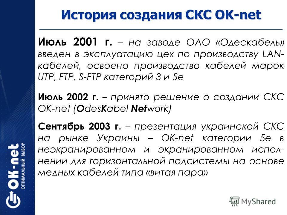 История создания СКС OK-net Июль 2001 г. – на заводе ОАО «Одескабель» введен в эксплуатацию цех по производству LAN- кабелей, освоено производство кабелей марок UTP, FTP, S-FTP категорий 3 и 5е Июль 2002 г. – принято решение о создании СКС OK-net ( O