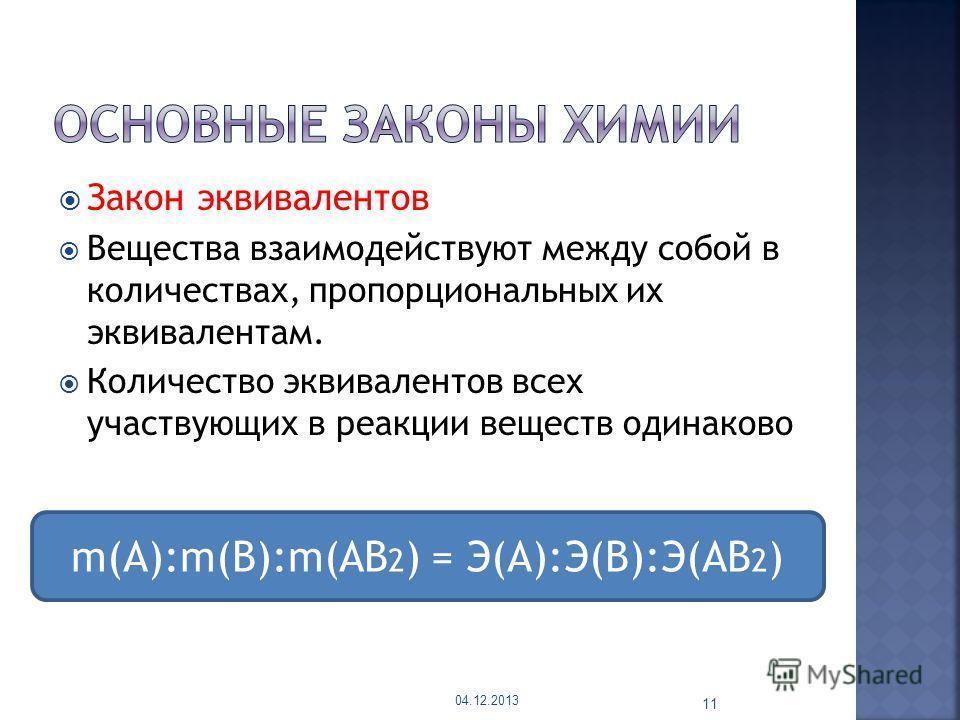 Закон эквивалентов Вещества взаимодействуют между собой в количествах, пропорциональных их эквивалентам. Количество эквивалентов всех участвующих в реакции веществ одинаково 04.12.2013 11 m(A):m(B):m(AB 2 ) = Э(A):Э(B):Э(AB 2 )