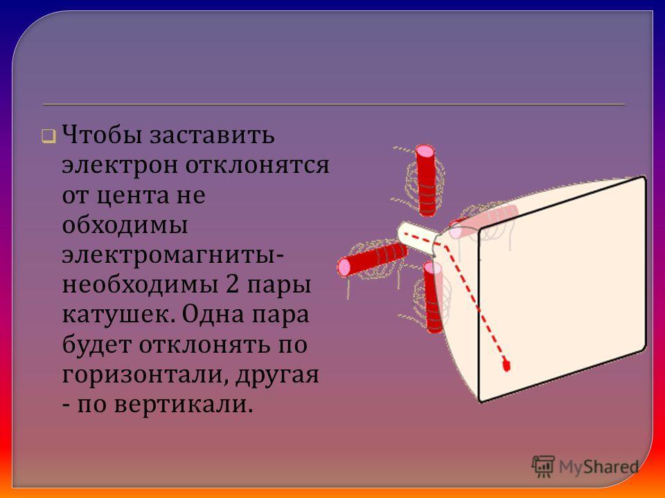 Чтобы заставить электрон отклонятся от цента не обходимы электромагниты - необходимы 2 пары катушек. Одна пара будет отклонять по горизонтали, другая - по вертикали.