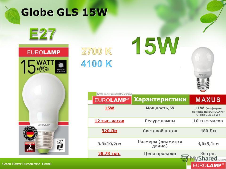 Характеристики 15WМощность, W11W (по форме похожа на EUROLAMP Globe GLS 15W) 12 тыс. часовРесурс лампы10 тыс. часов 520 ЛмСветовой поток480 Лм 5.5x10,2см Размеры (диаметр х длина) 4,6х9,1см 28,78 грн.Цена продажи36 грн. Globe GLS 15W Green Power Euro