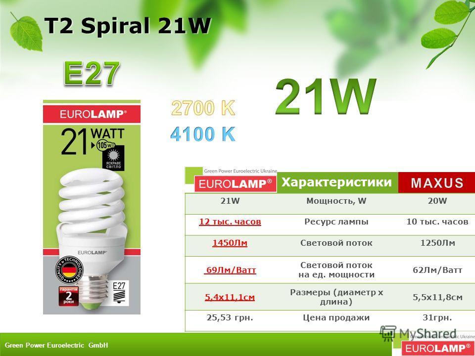 Характеристики 21WМощность, W20W 12 тыс. часовРесурс лампы10 тыс. часов 1450ЛмСветовой поток1250Лм 69Лм/Ватт Световой поток на ед. мощности 62Лм/Ватт 5,4x11,1см Размеры (диаметр х длина) 5,5х11,8см 25,53 грн.Цена продажи31грн. T2 Spiral 21W Green Pow