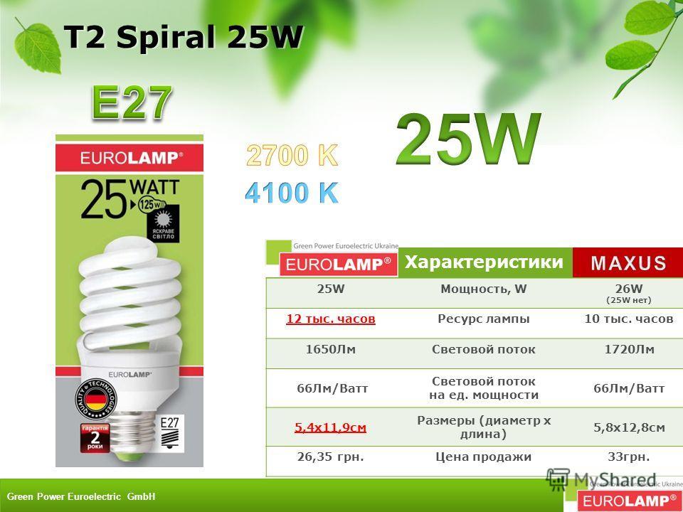 Характеристики 25W25WМощность, W26W (25W нет) 12 тыс. часовРесурс лампы10 тыс. часов 1650ЛмСветовой поток1720Лм 66Лм/Ватт Световой поток на ед. мощности 66Лм/Ватт 5,4x11,9см Размеры (диаметр х длина) 5,8х12,8см 26,35 грн.Цена продажи33грн. T2 Spiral