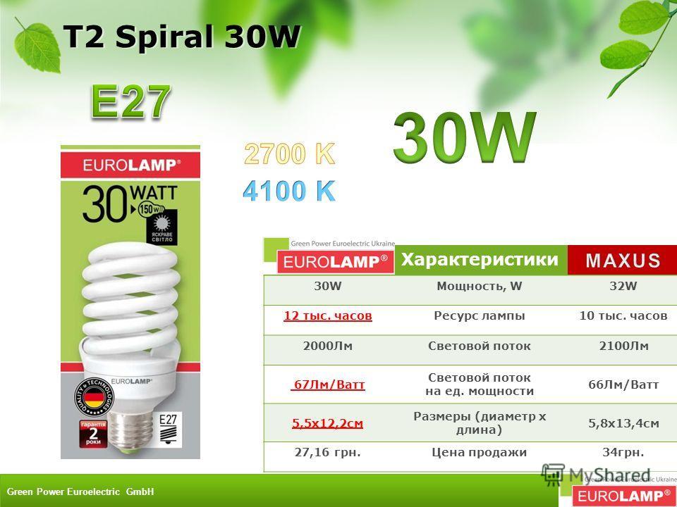 Характеристики 30WМощность, W32W 12 тыс. часовРесурс лампы10 тыс. часов 2000ЛмСветовой поток2100Лм 67Лм/Ватт Световой поток на ед. мощности 66Лм/Ватт 5,5x12,2см Размеры (диаметр х длина) 5,8х13,4см 27,16 грн.Цена продажи34грн. T2 Spiral 30W Green Pow