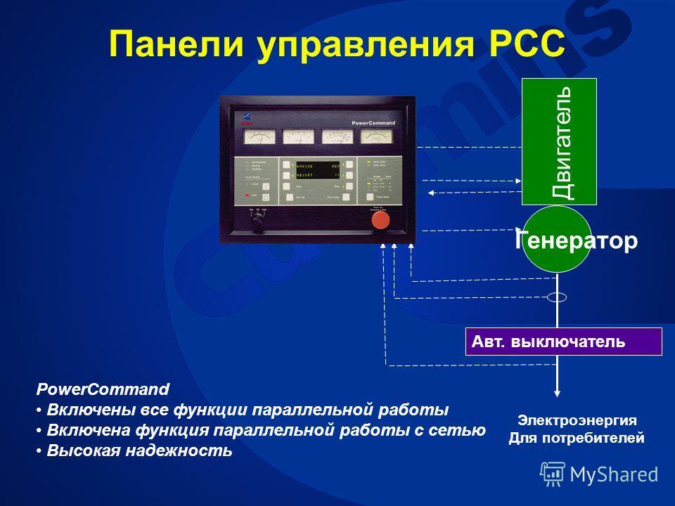 Генератор Двигатель Авт. выключатель Электроэнергия Для потребителей PowerCommand Включены все функции параллельной работы Включена функция параллельной работы с сетью Высокая надежность Панели управления PCC