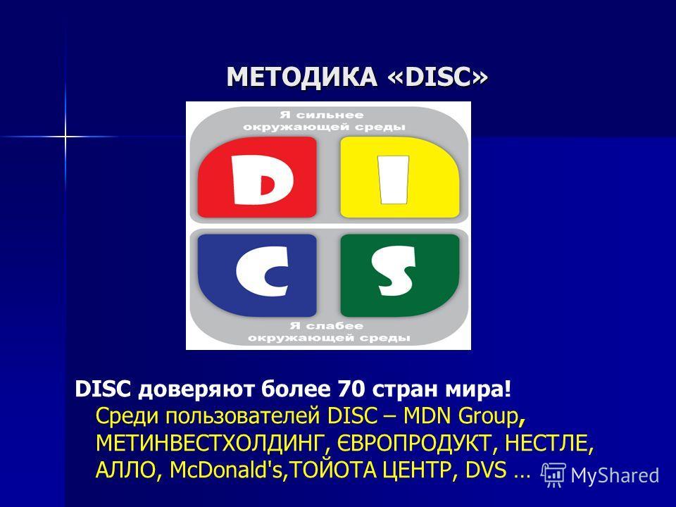 МЕТОДИКА «DISC» DISC доверяют более 70 стран мира! Среди пользователей DISC – MDN Group, МЕТИНВЕСТХОЛДИНГ, ЄВРОПРОДУКТ, НЕСТЛЕ, АЛЛО, McDonald's,ТОЙОТА ЦЕНТР, DVS …