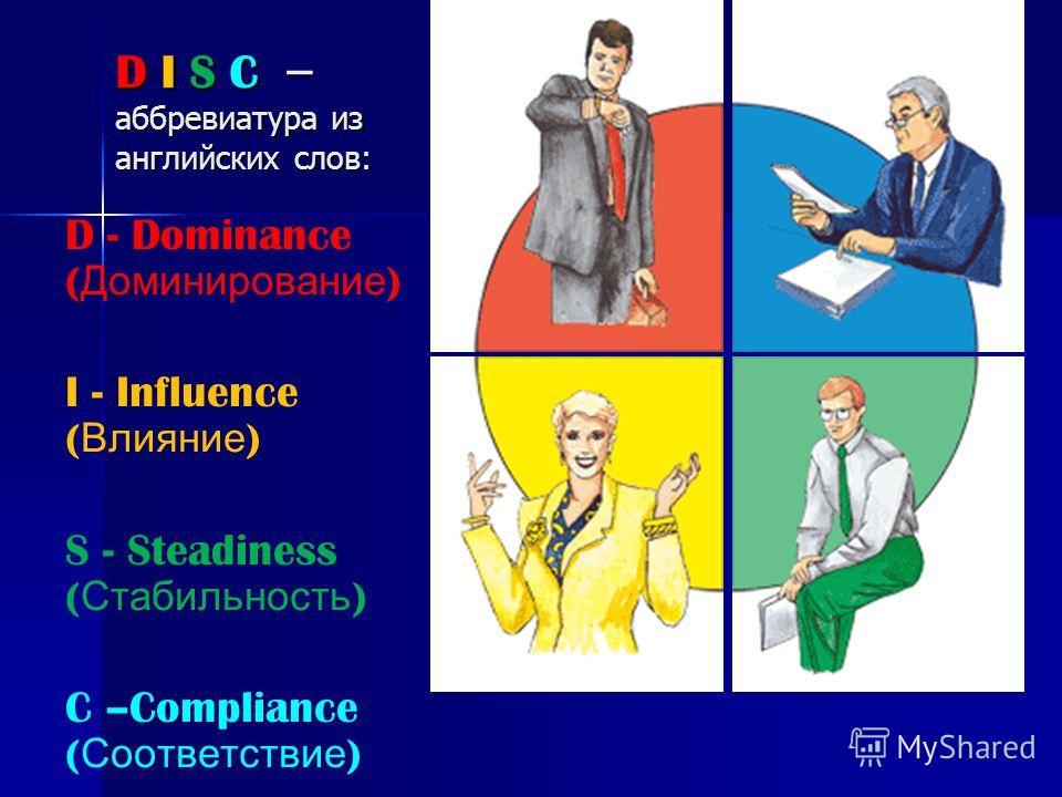D I S C – аббревиатура из английских слов: D - Dominance ( Доминирование ) I - Influence ( Влияние ) S - Steadiness ( Стабильность ) C –Compliance ( Соответствие )
