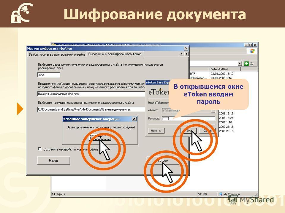 Шифрование документа В открывшемся окне eToken вводим пароль