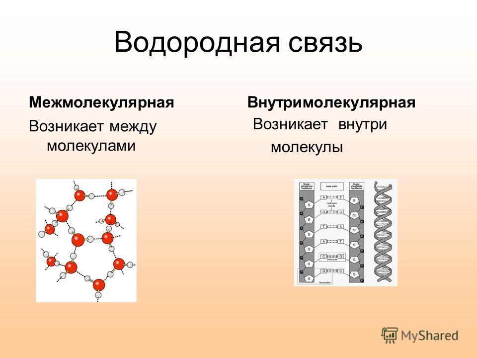 Связь между молекулами осуществляется посредством атома водорода. Такая связь получила название водородной. Связь легко разрывается, что можно наблюдать при испарении воды. Водородная связь