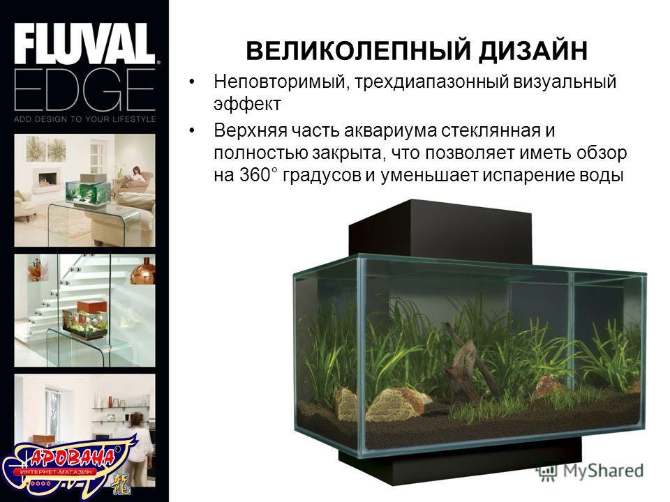 Неповторимый, трехдиапазонный визуальный эффект Верхняя часть аквариума стеклянная и полностью закрыта, что позволяет иметь обзор на 360° градусов и уменьшает испарение воды ВЕЛИКОЛЕПНЫЙ ДИЗАЙН
